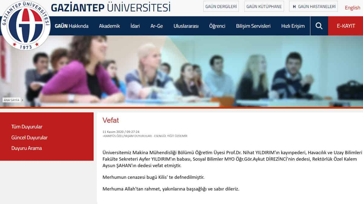 Gaziantep Üniversitesi Vefat İlanı