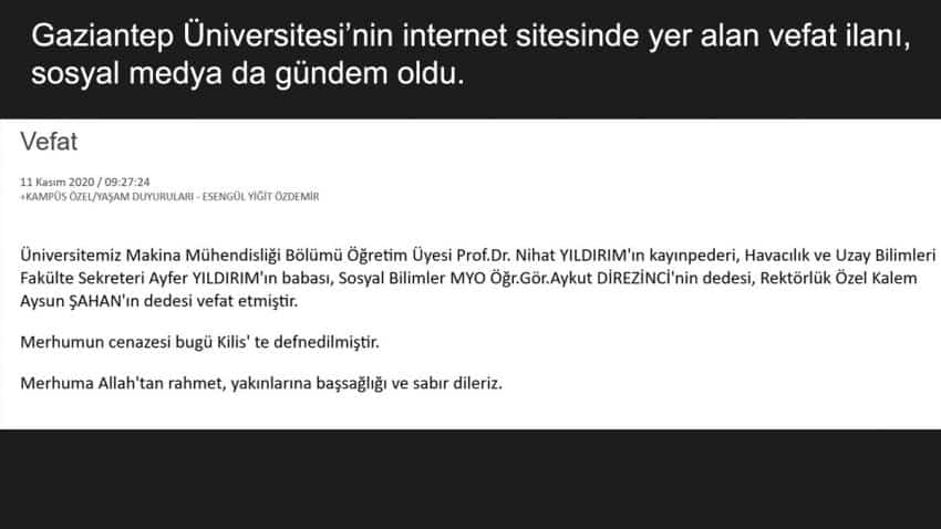 gaziantep üniversitesi vefat